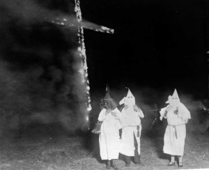 White supremacists burning cross