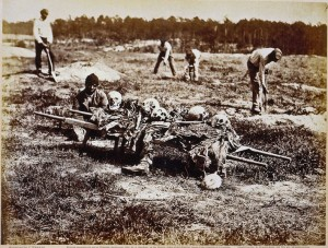 African Americans were made to collect the bones of the dead