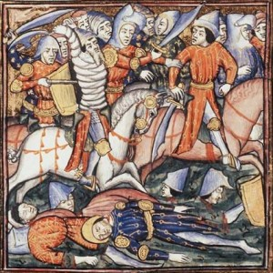 A 14th century depiction of the battle